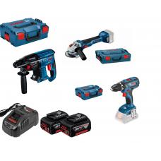 Akumuliatoriniu įrankių komplektas GWS 18V-10 + GBH 18V-21+ GSR 18V-28 + GBA 2x5,0Ah, GAL 1880CV